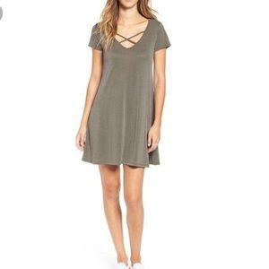 Socialite T-shirt dress with criss cross front